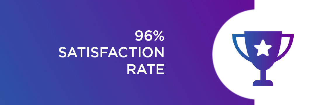 96% SATISFACTION RATE